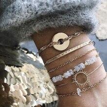 6 шт./партия женские модные браслеты-шармы, Круглый круглый браслет с геометрическим кристаллом от солнца, золотой многослойный браслет, набор свадебных ювелирных изделий