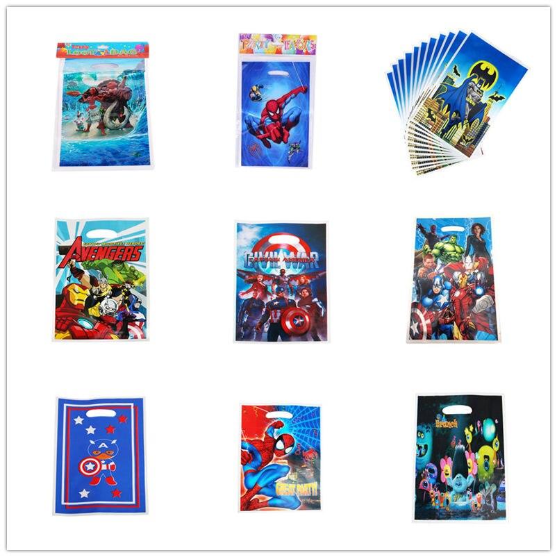 20pcs The Avengers Superhero League Loot Gift Bag Kids Favor Birthday Party Baby Shower Wedding Plastic Bags Decoration Supplies