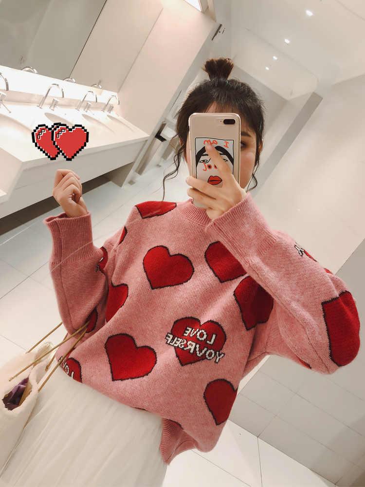 달콤한 심장 편지 인쇄 대형 여성 스웨터와 풀오버 긴 소매 o 넥 핑크 니트 스웨터 여성 점퍼 탑스