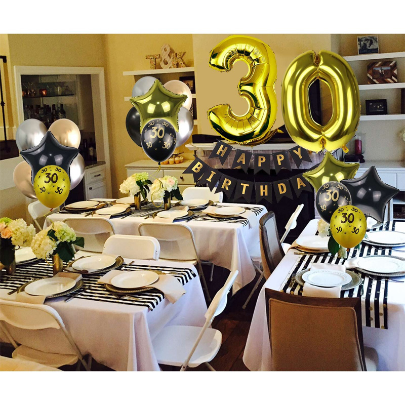 30/40/50/60th 40 Inch Aluminum Foil Number Ballon Birthday Party Decorations Banner Paper Pom-pom Black Gold Balloons Set