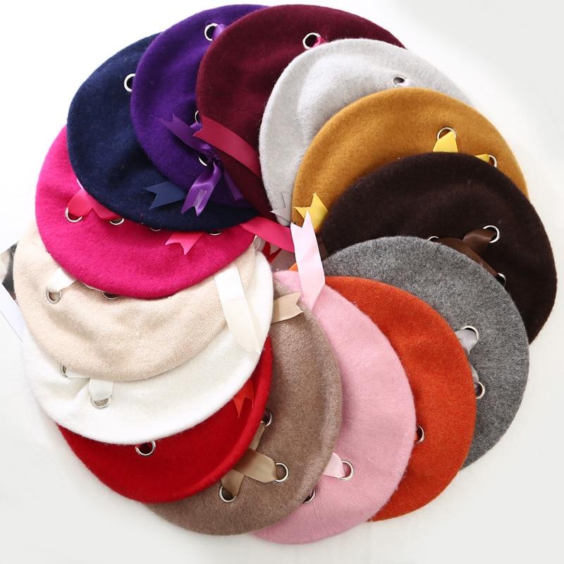 Шерстяные женские Зимние береты, роскошные бархатные винтажные кашемировые женские теплые модные береты, шапки для девушек, плоская кепка, берет для женщин