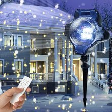 Mini LED Snowfall Projector IP65 Moving Snow Outdoor Garden Laser Light Christmas Snowflake Decor Lamp with Controller