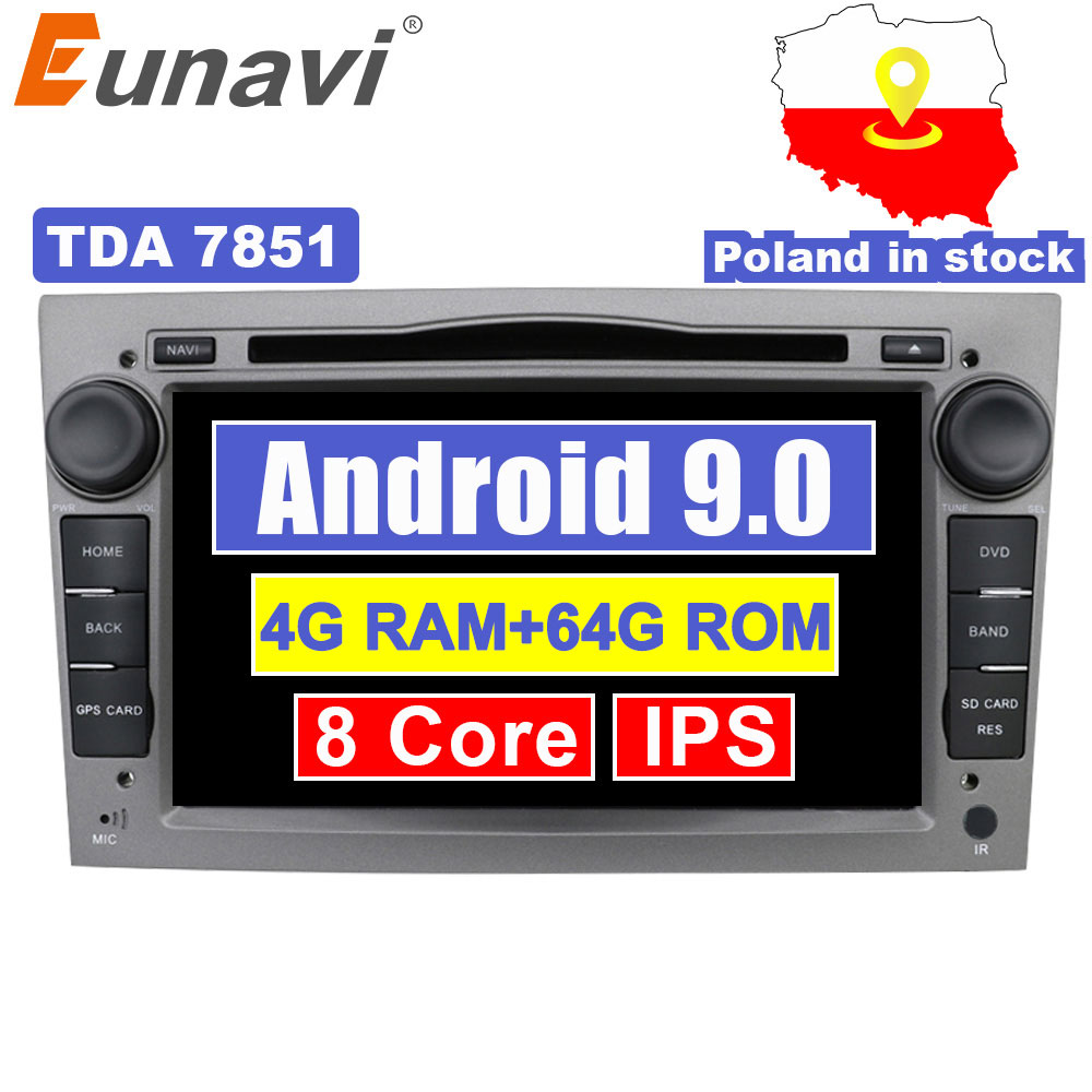 Eunavi 2 Din 4G 64G Octa Core 7'' Android 9 Car DVD Radio Player For Opel Astra Vectra Antara Zafira Corsa GPS Navi Wifi stereo