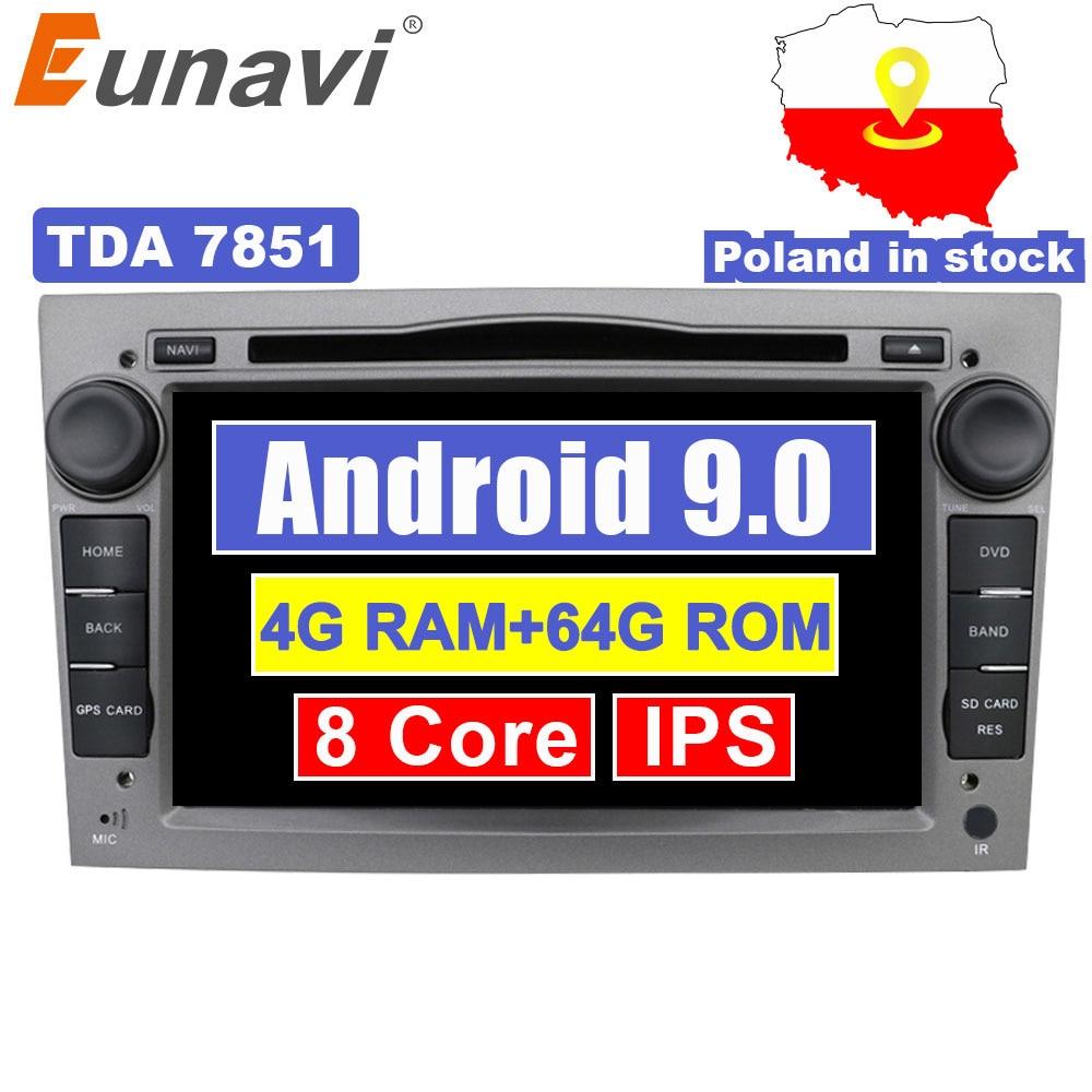Lecteur Radio DVD de voiture Eunavi 2 Din 4G 64G Octa Core 7 ''Android 9 pour Opel Astra Vectra Antara Zafira Corsa GPS Navi Wifi stéréo
