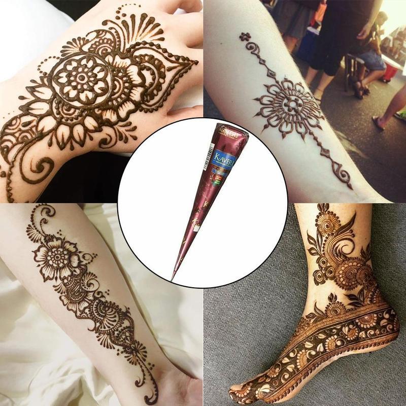 Indian Henna Tattoo Paste Black Brown Henna Cones Temporary Tattoo Body Art Sticker Natural Body Paint Tattoo Henna Cones New