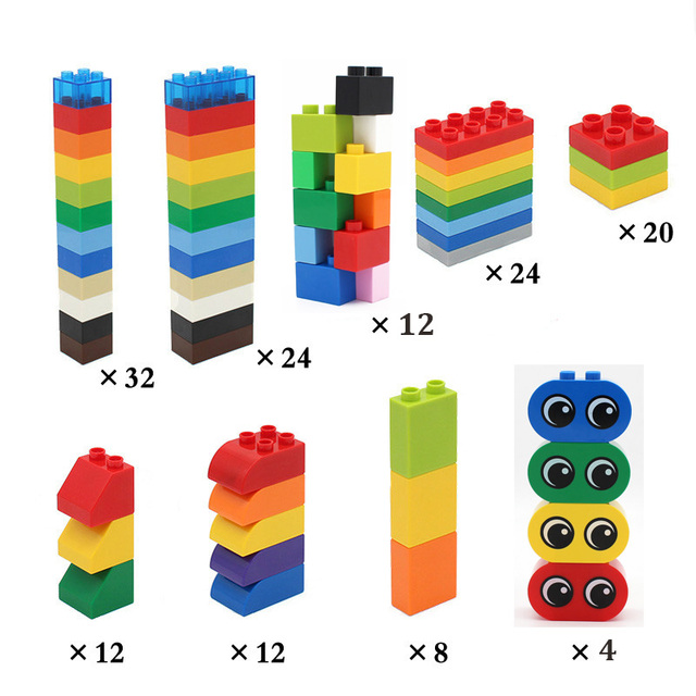 Big Size Building Blocks Duploed Brick Colorful Bulk Large Particles DIY Educational Compatible with Assembles Kids Toys Gifts