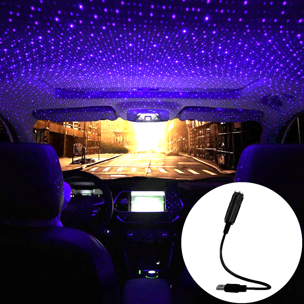 LED Car Roof Star Night Light Laser Projector Atmosphere Lamp USB Decorative Effects Stage Light Adjustable Multiple Party Light