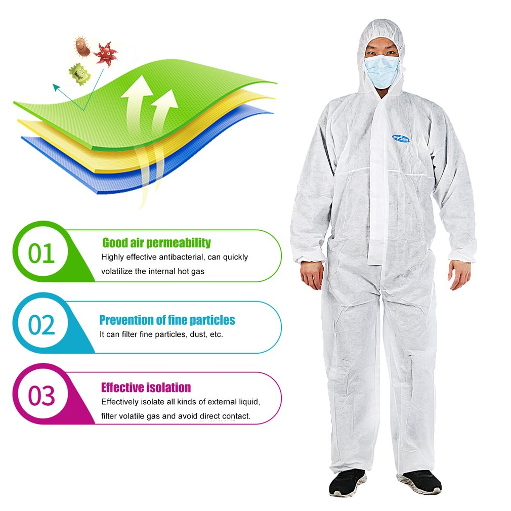Isolation clothing protection against particles liquid spray Elastic design heat-seal protective suit
