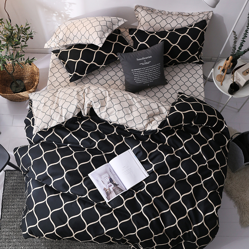 Luxury Bedding Set Super King Duvet Cover Sets 3pcs Marble Single Swallow Queen Size Black Comforter Bed Linens Stripe