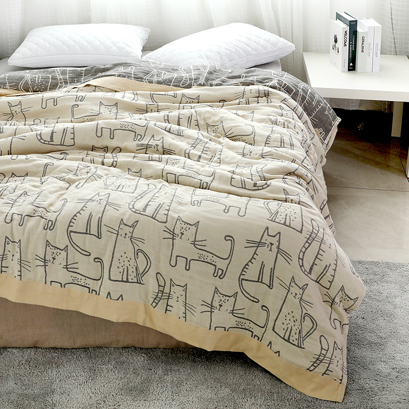 Junwell бамбуковое хлопковое муслиновое летнее одеяло, покрывало для кровати, дивана, путешествий, дышащее большое мягкое покрывало с рисунком кота из мультфильма|Одеяла|   | АлиЭкспресс