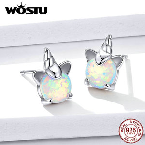 Image 5 - WOSTU 100% 925 srebro jednorożec Opal stadniny kolczyki dla kobiet małe kolczyki ślubne moda biżuteria rocznicowa CQE737