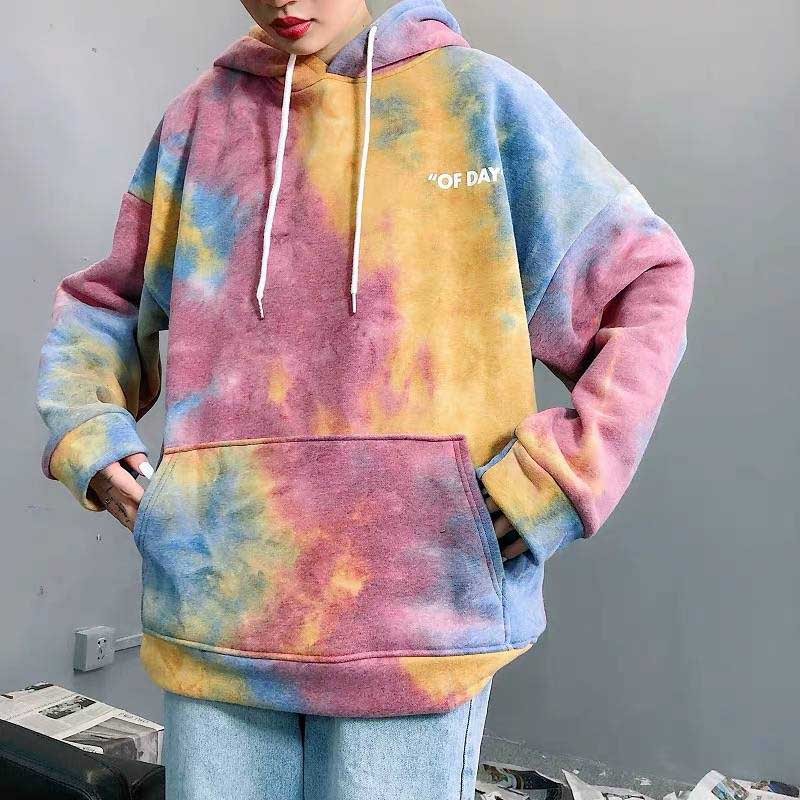 NiceMix Print Colorful Autumn Hoodies Women Long Sleeve Spring Pullovers Female Fashion Ladies Sweatshirts Pockets 2019