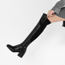 Women Boots Shoes High-Heel Large-Size Winter Fashion Genuine-Leather 34-43 7cm Over-The-Knee