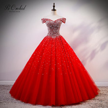 PEORCHID 2020 Sparkle Sequin Ball Gown Quinceanera Dresses Red Luxuy Beaded Tulle Vestido 15 Anos Party Dress Debut gGowns