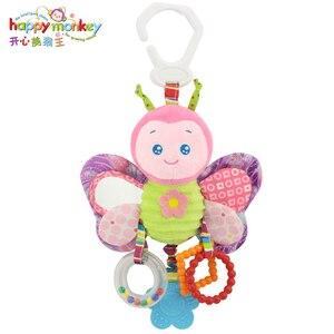 Image 2 - קוף שמח פעמון מיטת תינוק תינוק ילוד צעצועים עם BB צעצוע קטיפה לתינוק פעמון פעמון תלוי מיטת קריקטורה בעלי החיים WJ459