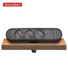 Bcsongben EU Plug 3 power Kitchen Table Electrical Socket Desktop Sockets Power 2 charge USB Aluminum Shelf цены онлайн