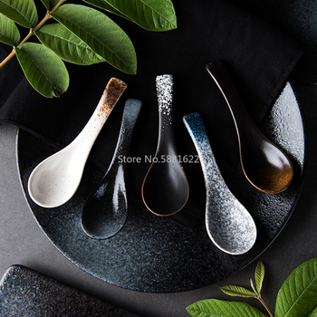 1PS Japanese Ceramic Spoon Kitchen Cooking Utensil Tool Soup Teaspoon Catering for Kicthen