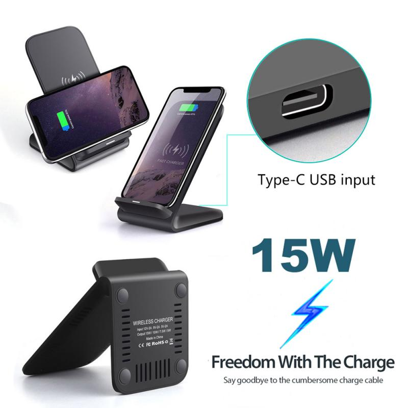 Mobile Phone - Mobile Phone Wireless Chargers 15W Qi Wireless Charger Stand For iPhone Samsung Fast Charging Dock Station Phone Charger FDGAO