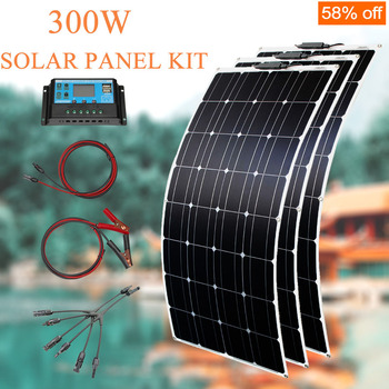 solar panel 300w home system kit complete off grid solar panels set for rv car battery charging