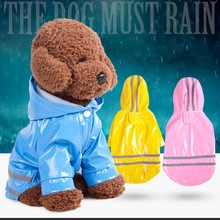 1 PC Outdoor Puppy Pet Rain Coat Waterproof Jackets PU Raincoat Apparel Clothes Dog Reflective Hooded for Dogs Cats