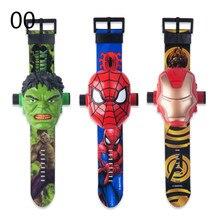 Disney dos desenhos animados crianças assistir 3d projeção dos desenhos animados super-heróis homem-aranha homem de ferro relógios digitais crianças relógio de brinquedo presentes