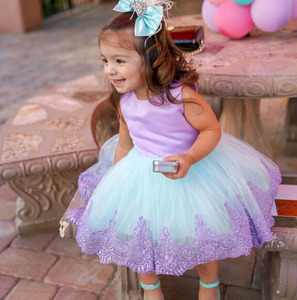 Kid Baby Girls Lace Bow Tulle Pageant Princess Formal Gown Dress