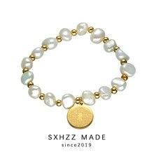 SXHZZ New Freshwater Pearl Beads Bracelet for Girls Irregular Stainless Coin Pendant Cross For Christian Top Quality