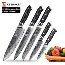 KEEMAKE 1-8 unids/set Damasco Chef de Santoku cocina pan cuchillo japonés VG10 afilada de acero hoja de cuchillos de cocina G10 manejar