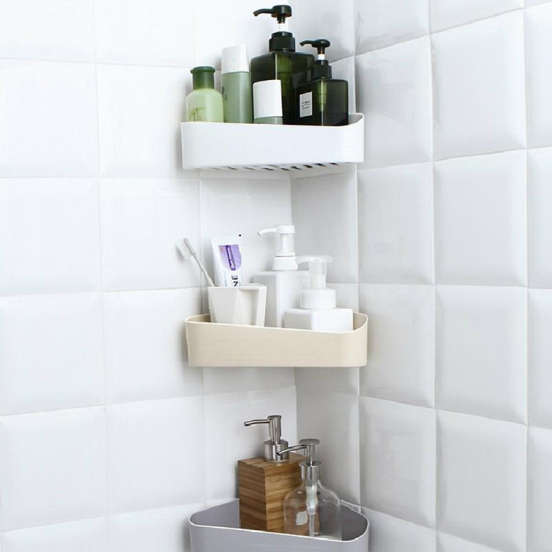 Bathroom Kitchen Corner Shelf Suction Rack Organizer Storage Shower Wall Basket