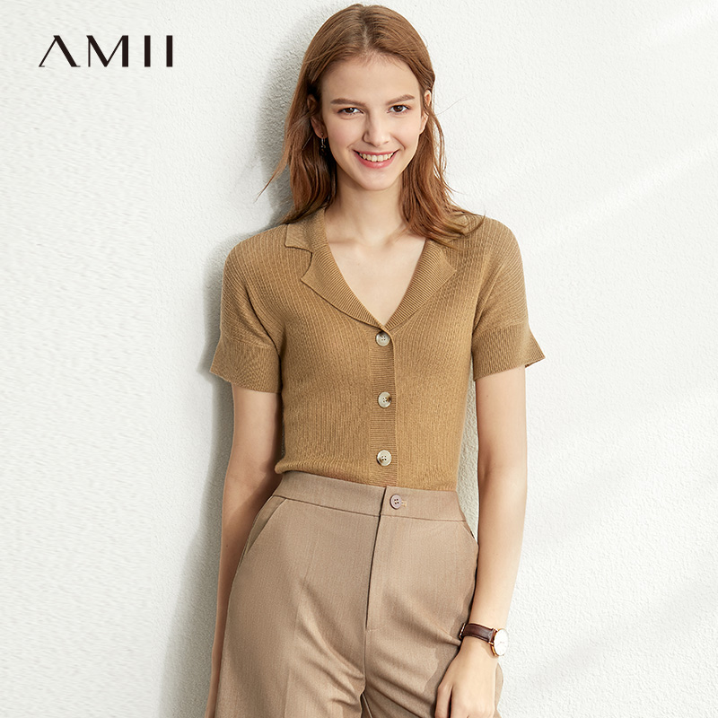 Amii Spring Summer Solid Causal Knit Shirt Women Single-breasted Solid Slim Knit Pullover 12030006