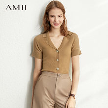 Amii Lente Zomer Solid Oorzakelijk Knit Shirt Vrouwen Single-Breasted Solid Slim Knit Trui 12030006(China)
