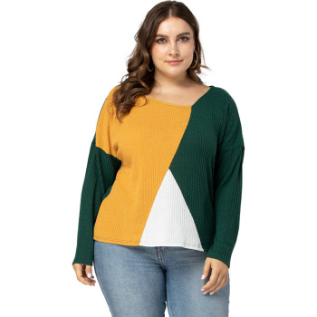 цена на Mostnica Plus Size Multicolor Ribbed Knit Sweater Women Casual Drop Shoulder V Neck Long Sleeves Woman Spring Pullovers Sweater