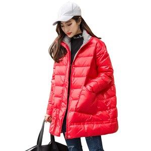 Image 5 - Ftlzz 새로운 겨울 다운 재킷 여성 느슨한 울트라 라이트 화이트 오리 코트 파커 여성 터틀넥 포켓 두꺼운 따뜻한 오버 코트