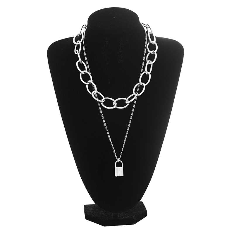 PadLock chain necklace women men chunky chain with lock Pendant Necklaces punk Hiphop 2019 fashion gothic jewelry