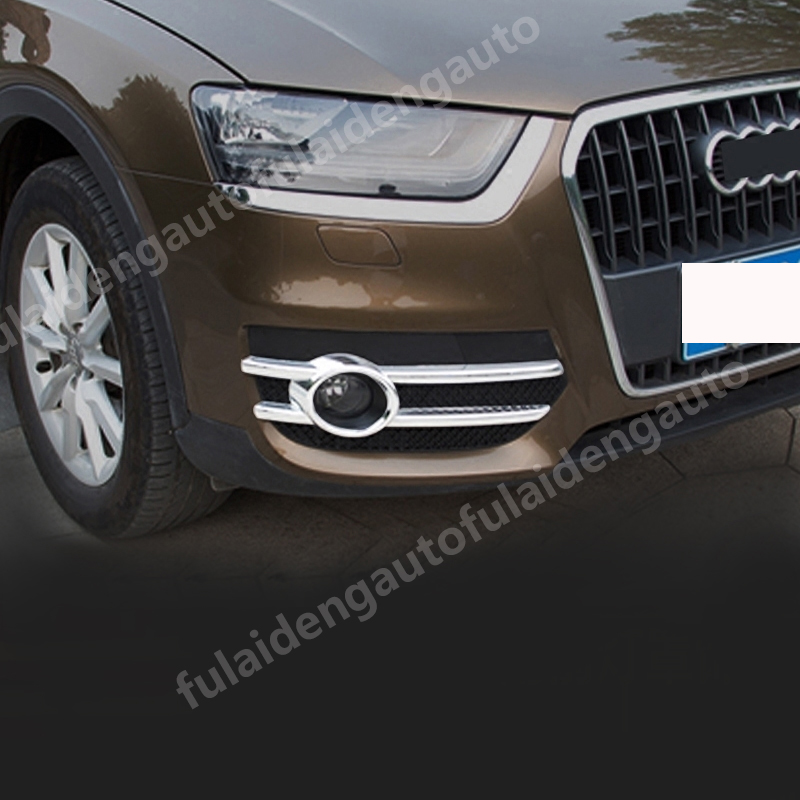 ABS Chrome Front Fog Lamp Fog Light Cover Trim 2pcs for Audi Q3 2012-2015