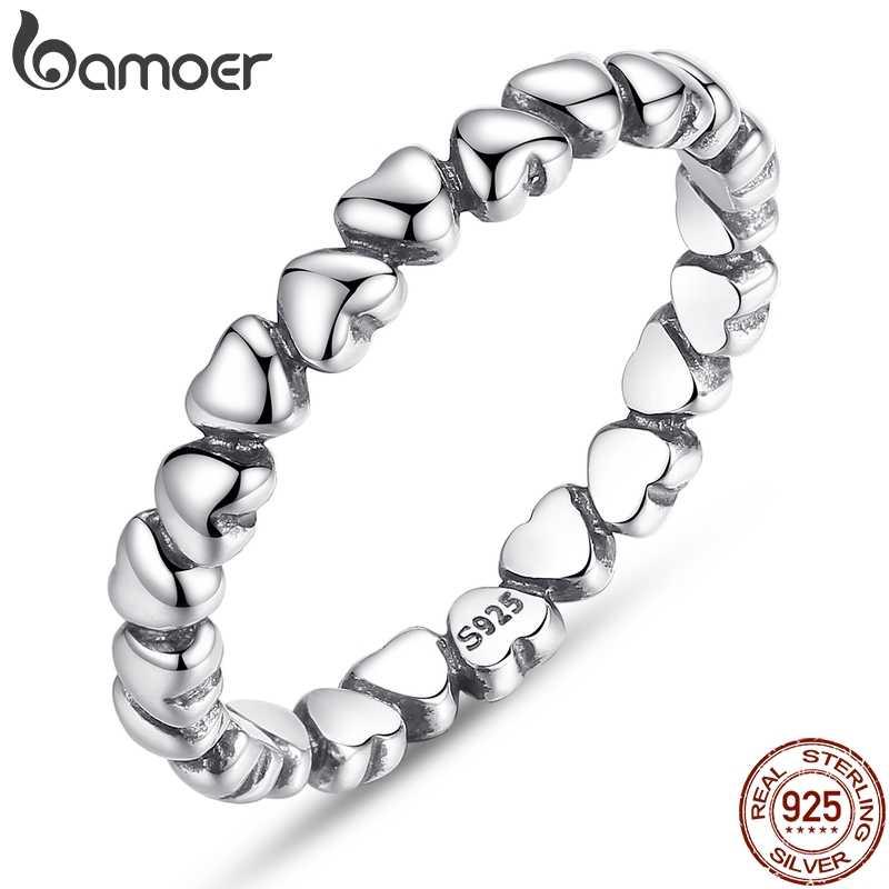 Bamoer Nyata 925 Sterling Silver Selamanya Cinta Jantung Finger Ring Asli Perhiasan Hadiah Belanja Global Festival 2019 PA7108