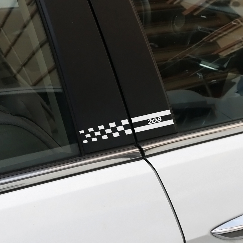 2PCS Car Styling Reflective Vinyl Decals Stickers For Peugeot 208 Auto Window B Pillars Decorative Column Cover Film Accessories
