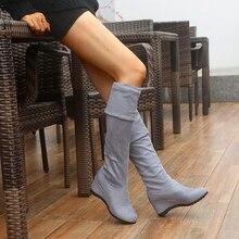 Botas negras elásticas aterciopeladas ajustadas por encima de la rodilla para mujer, cuñas sexys de tacón alto hasta el muslo, otoño e invierno, 2021