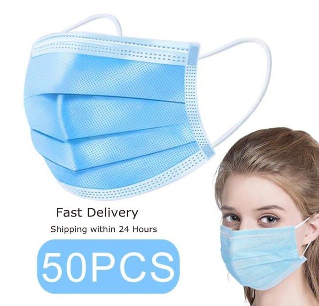 50pcs Disposable Face Mask 3 Ply Protection Breathable Non-Woven Fabric