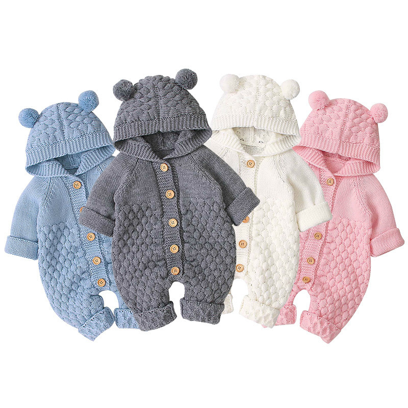 Baby Rompers Clothes Cartoon Bear Knitted Newborn Boys Jumpsuits Fall Long Sleeve Toddler Girl Sweater Children Overall Winter