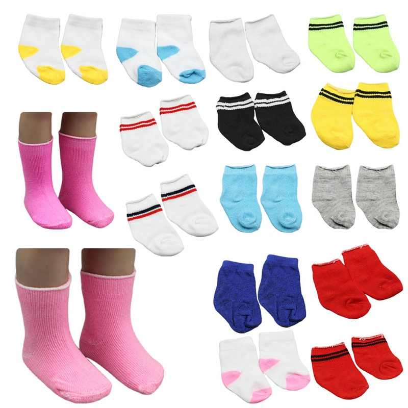 1 Pairs Mini Sock Fit 43cm Baby Doll Clothes Accessories For Dolls Baby Great Christmas Gifts