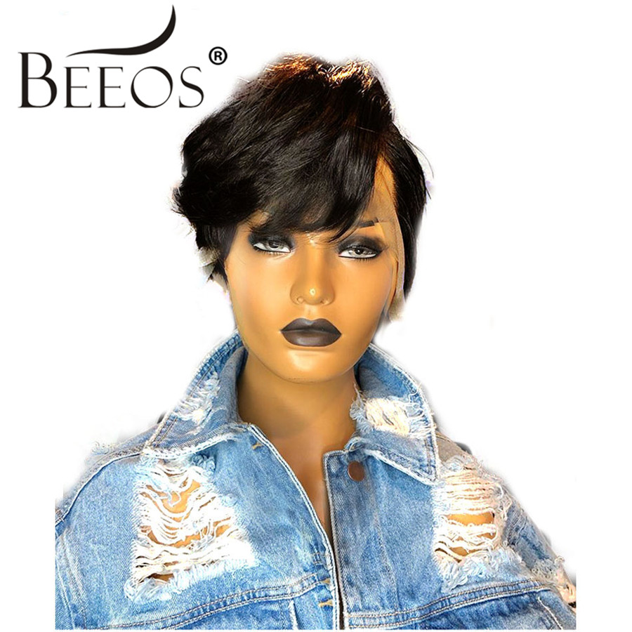 Beeos Pixie Cut Wig 13x6 Deep Part Lace Front Human Hair Wigs Brazilian Remy Hair For Women Bleached Knots Pre Plucked Hair Line