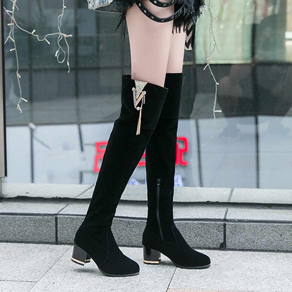Konfor kadın ayakkabı elbise diz üzerinde kışlık botlar kadın taklidi önyükleme bayan sıcak çizmeler bayan kar ayakkabı