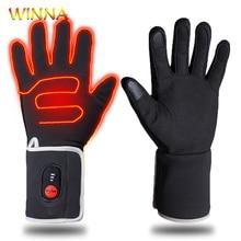 Унисекс Зимние перчатки с подогревом с батареей сенсорный экран Электрический нагрев перчатки для катания на лыжах ветрозащитные для езды на велосипеде Зимние теплые