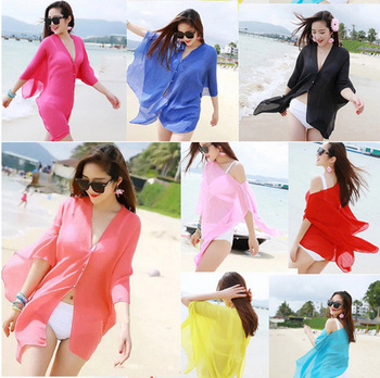 Womens Sexy Chiffon Bikini Cover Up Summer Beach Solid Women Swimwear Dress Scarf Pareo Sarong Wrap