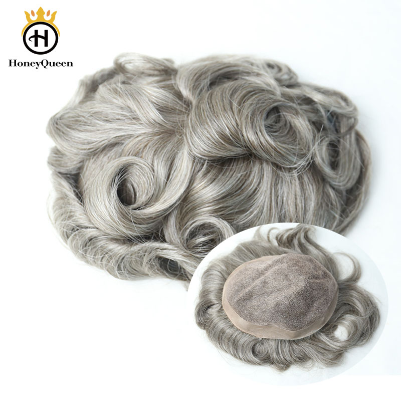 Grey Hair Toupee Men Lace With Poly Around Natural Hair Line 100% European Human Hair Toupee Replacement System 450# Color Remy