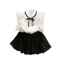 купить Fashion Baby Girls Clothes Sets Summer Girls Stripe Sleeveless Shirt + Chiffon Culottes Two Pieces Bebe Set Clothes Skirt Suit дешево