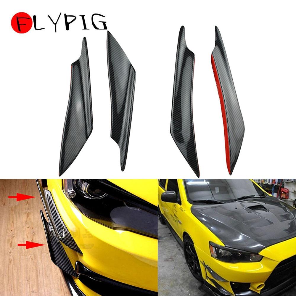 FLYPIG 4Pcs Black Carbon Fiber Car Front Bumper Lip Rubber Fin Splitter Body Spoiler Canards Spoiler For Mitsubishi 2002-2017