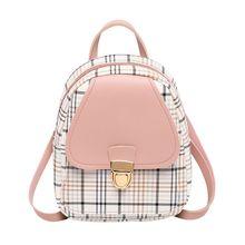 Crossbody-Bag Bagpack Teenage-Girl Women Shoulder Female Trendy Plaid Pu for Phone-Purse