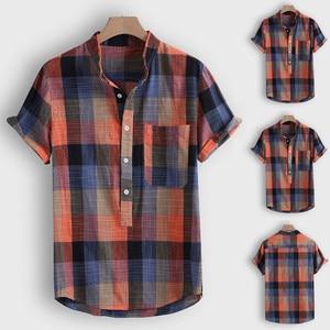 Новинка 2020, модная мужская повседневная рубашка на пуговицах, гавайская клетчатая пляжная блуза с коротким рукавом, Camiseta футбола